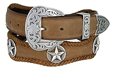 Mens Austin Texas Stars Conchos Western Leather Scalloped Belt Brown 38