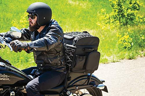 Kuryakyn 5285 Momentum Vagabond Motorradgepäck: wetterfester Sitz-/Kofferraum-/Gepäckträger mit Sissy Bar Riemen, schwarz