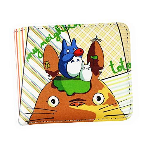 LKKOY Tonari no Totoro Kurze Brieftasche Aus Mit Volldruck Kurz Geldbörse Geldbeutel Portemonnaie Portmonee Brieftasche Anime Großen Kopf Pu-Leder 12X10X1.5CM