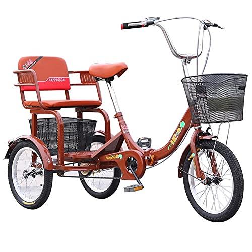 ZCXBHD Dreirad für Erwachsene, 1 Gänge, Cruise-Bike, faltbares Dreirad mit Korb für Erwachsene, Dreirad-Fahrräder, Kreuzfahrt-Trike für Freizeitübungen, Herren und Damen (Farbe: Braun)