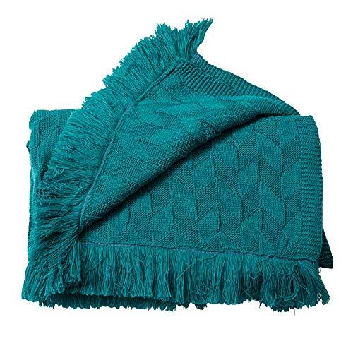 MADHEHAO Manta de Punto 100% algodón Colcha de Europa del Norte Manta de Vida Lisa de Lana Retro Manta cálida Manta de Tiro (Azul Vaquero, 80 x 240 cm)