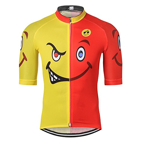 Weimostar Mountain Cycling Jersey Mens Bike Shirt Manica Corta S-3XL, Traspirante e Quick Dry, Rosso-Giallo Volto sorridente