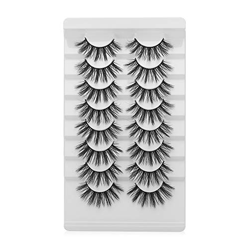 Qianya False Eyelashes,8 Pairs 20MM 3D Mink Eyelashes Full Strips Natural Long Thick Cross Long Wispy Fluffy Dramatic Eyelashes for Make Up(A39)