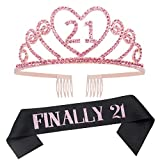 Ska Direct 21st Birthday Tiara and Sash, Finally 21 Sash and Rose Gold Crystal Rhinestone Tiara Birthday Crown for Happy 21st Birthday Party Supplies and Decorations (Sash+Tiara)/Rose