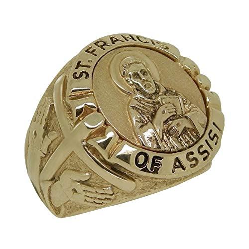 Anello da uomo in oro massiccio 10 carati con croce di San Francesco d'Assisi e Oro 10 carati., 23,5, cod. GG009