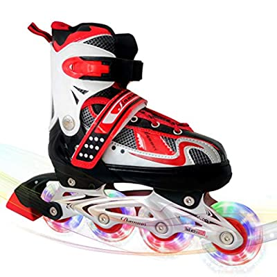 MammyGol Adjustable Inline Skates for Kids,Roller Skates with Featuring All Illuminating Wheels - Beginner Skates for Girls and Boys,Youth and Ladies. (RED, Medium - Big Kid (1-4US)) by MammyGol