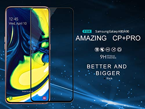 Nillkin Tempered Glass for Samsung Galaxy A80 A 80 / A90 A 90 CP+ Pro 0.3mm Thin Glass Edge Shaterproof Full Screen Coverage Explosion Proof Screen Protect Black Color