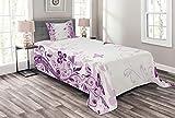 ABAKUHAUS Schmetterling Tagesdecke Set, Wirbelnde Blumen Wilde, Set mit Kissenbezug Maschienenwaschbar, für Einselbetten 170 x 220 cm, Violett