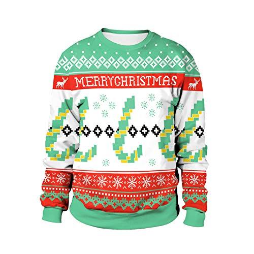 Traje de Navidad copo de nieve Pixel Candy Cane impresión 3D suéter de cuello redondo, suéter de deportes