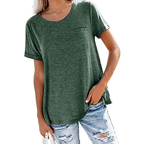 Camisetas de Manga Corta para Mujer Jerséis de Tops de béisbol Cuello Redondo Pullover de Color sólido Camiseta Casual de Verano de Manga Corta Blusa Camiseta de Informal para Mujer Blusas Túnica