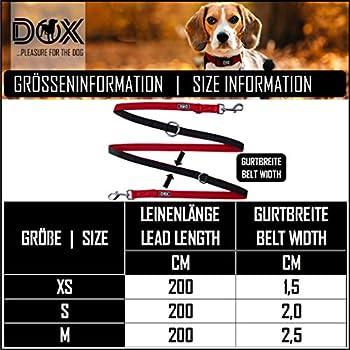 DDOXX Laisse Chien Air Mesh, Réglable en 3 Position, 2m   Nombreuses Couleurs & Tailles   pour Petit, Moyen Gros & Grand   Double laisses Ajustable Chat Chiot   Rouge, XS