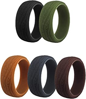 SkullParty Silicone Wedding Ring Band for Men 5 Pack Size 7 8 9 10 11 12 13 14 Mens Bark Texture Rubber Wedding Bands Rings 8.7mm Wide - Black, Iron-Grey, Coffee, Olive Green, Earth Tone
