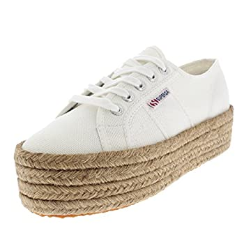 Superga Womens 2790 Cotropew Wedges Summer Casual Flatform Sneakers - White - 6.5