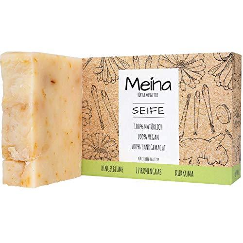 Meina Naturkosmetik - Seife mit Ringelblume, Zitronengras und Kurkuma (1 x 100 g) Palmölfrei, Natürlich, Vegan, Handgemacht, Bio Naturseife - Körperpflege und Gesichtspflege