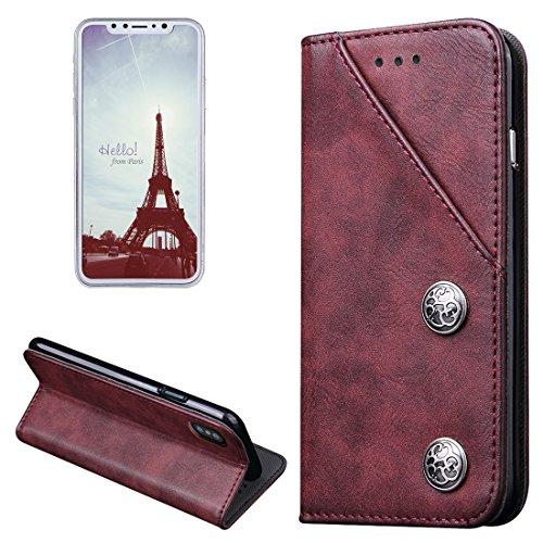 Caso mobile QUAN Multi-funzionale casi cellule del cuoio del telefono e copre for iPhone X / XS bronzo texture stile casual con assorbimento Cassa orizzontale del cuoio di vibrazione con il supporto e