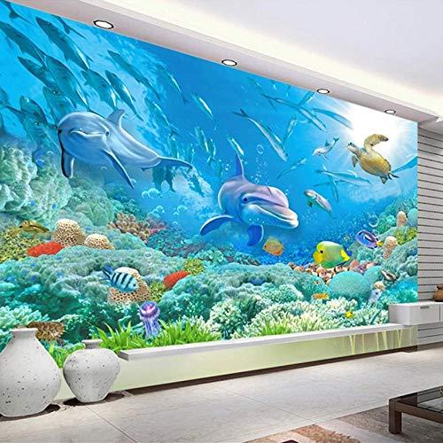 Foto Unterwasserwelt 3D Dolphin Turtle Fish Coral Family Wandbild Wohnzimmer TV Hintergrund Wallpaper für Schlafzimmer Wände,350x245cm(WxH)