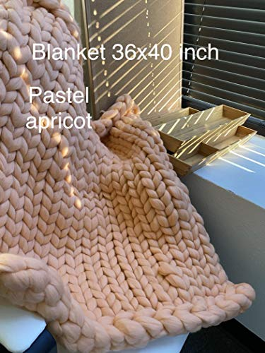 GOING OUT OF BUSINESS SALE! 36x40 inch blanket - Merino wool chunky knit blanket Super Giant hand Knit Blanket Thick yarn blanket Weighted large arm knitting blanket