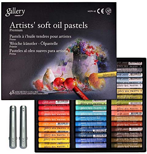 Mungyo Gallery Non Toxic Soft Oil Pastels Set of 48 Assorted Colors, Bundle with 2 Pastel holders...