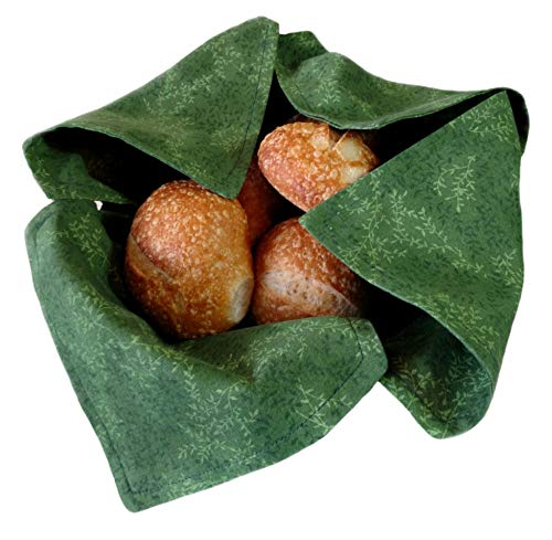 Basket Liner and Warmer for Hot Rolls and Bread in Green with Green Leaves