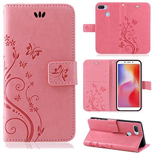 betterfon   hülle Flower Hülle Handytasche Schutzhülle Blumen Klapptasche Handyhülle Handy Schale für Xiaomi Redmi 6 Rosa