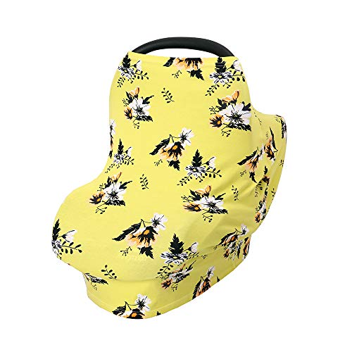 Baby Nursing Cover,Best Breastfeeding Cover Up,Car Seat Cover Nursing Cover Up, High Chair, Shopping Cart, Stroller Cover for Boys or Girls(Yellow Flower)