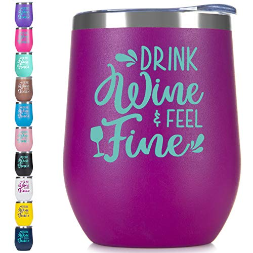 BOODVA Stainless Steel Stemless Wine Glass Tumbler with Lid and Straw 12oz Double Wall Vacuum Insulated Wine Cup Tumbler with Saying for Women Men Mom Friend Color Funny Phrase Engraved Mug Purple