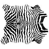 Famibay Alfombra de piel sintética grande con estampado de cebra para sofá, alfombra mullida de piel de cebra para sala de estar, dormitorio (impresión de cebra, 140 x 160 cm)