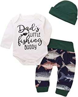 b12ae171d8e Emmababy Unisex Baby Long Sleeve Romper Bodysuit Dad s Fishing Buddy Print  Sweatshirt Pants Trousers Hat Outfit