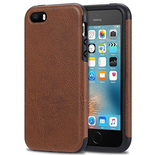 Bisikor iPhone SE Case Leather Texture Design Perfect Protective Case for iPhone SE and iPhone 5S 5 (Brown)