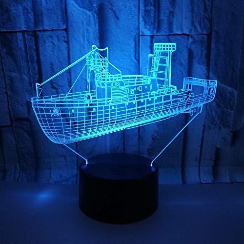 SWNN lámpara de mesa Crucero LED Gradientes De Color 3D Estéreo USB Lámpara De Luz De Noche Remota Toque La Cabecera Del Escritorio Con Imaginación Decoradas Regalo De Cumpleaños De Navidad