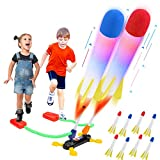 BananMelonBM Rocket Launchers for Kids, Outdoor Game Toy Jump Rocket Toy with 8 Flashing Foam Rockets for Birthday Toys STEM Gifts for Boys Girls Ages 3 4 5 6 and Up