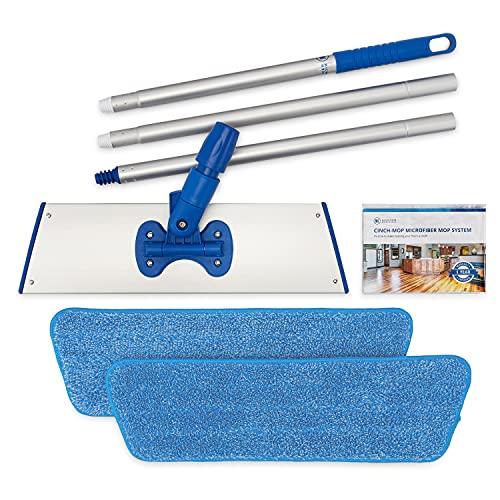 Cinch Mop - Microfiber Mop for Hardwood Floors - Flat Mops System for Wood, Tile, Laminate, Vinyl, 2 Wet Pads Refills, Reusable Micro Fiber Mopping Heads