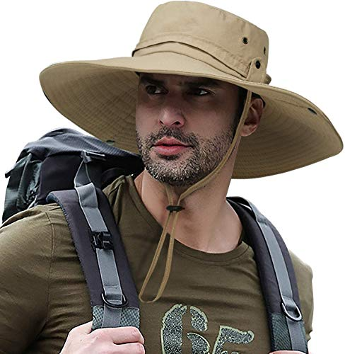 Ultra Wide Brim Hat Upf50 + Sun Hat, Waterproof, Breathable and Foldable, Suitable for Fishing, Hiking, Camping Brown