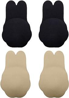 Invisible Push up Bra 2 Pairs,Women Self-Adhesive Summer Freedom Rabbit Bra Strapless Uplift Secret Magic Bra Adhesive Sticky Nipplecovers