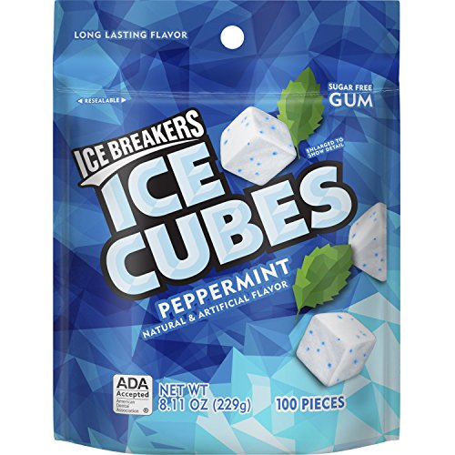 ICE BREAKERS Ice Cubes Sugar Free Gum, Peppermint, 100 Piece