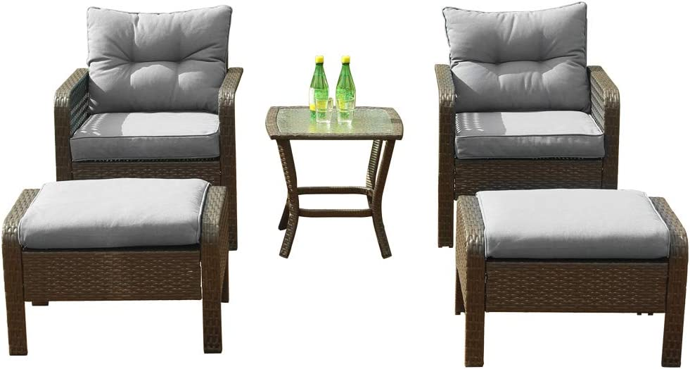 5 PCS Wicker Patio Furniture Pat PE Over item handling Translated ☆ All Set Weather