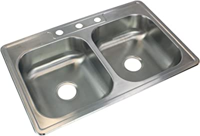 Elkay Nlb33224 Neptune 33 By 22 By 8 Inch Double Bowl Kitchen Sink Stainless Steel Amazon Com