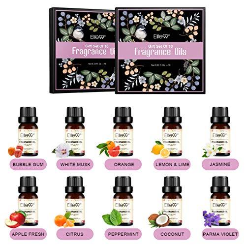 Elite99 Aceites de Fragancia, Aceites Esenciales para Humidificadores, Aceites de Aromaterapia de 10 Sabores de Flores y Frutas, Caramelo, Jazmín, Naranja, Menta, Limón, 10ML