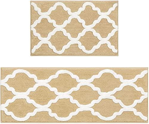 Pauwer Tappetino da Bagno in Microfibra, Antiscivolo, Lavabile in Lavatrice, Set di tappetini da Bagno (Beige, 45 x 65 cm + 45 x 120 cm)