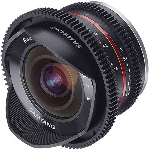 Samyang F1420306101 - Objetivo para vídeo VCSC-Mirrorless para Sony E (distancia focal fija 8mm, apertura T3.1-22 UMC Cine II, Ojo de pez), negro
