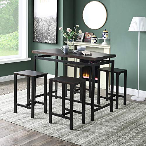 Merax Dining Table Set 5 Pieces Counter Height Pub Table Set, Dining Height Table with 4 Chairs, Wooden Kitchen Table for The Bar, Dining Room,Breakfast Nook, Kitchen Room and Living Room(Espresso