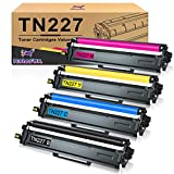 HaloFox Compatible Toner Cartridge Replacement for Brother TN223 TN227 TN-227 TN227bk for HL-L3210CW HL-L3230CDW HL-L3270CDW HL-L3290CDW MFC-L3710CW MFC-L3750CDW MFC-L3770CDW Printer (4 Pack)