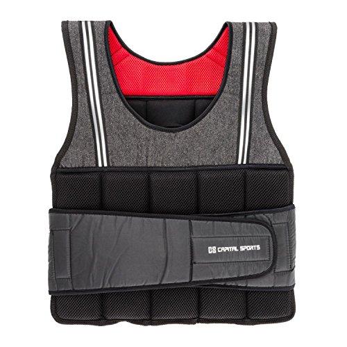 Capital Sports Vestpro 10 - Gewichtsweste, Fitness-Weste, Weightvest, 10 kg, 23 herausnehmbare Gewichte, Nylongurte mit Klettverschlüssen, individuelle Körperanpassung, schwarz