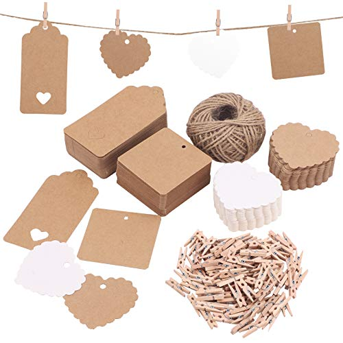 200 Pcs Gift Tags Kraft Paper Tags with 30 Meters Natural Jute Twine and 100 Pcs Wooden Pegs Hanging Ornament Tags Luggage Labels Present Tags Card Parcel Tags Hang Tags for Gift Crafts Wedding