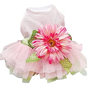 Sanwood Daisy Flower Gauze Tutu Dress Pet Dog Bowknot Princess Clothes Pet Only