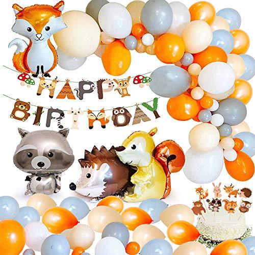 MMTX Jungle Verjaardagsdecoratie Jongen Kinderverjaardagsfeestdecoratie Gelukkige verjaardagsslinger met palmbladeren, ballonnen en safaribosdier voor kinderen Kinderkamer Verjaardagsdecoratie (65 stuks)