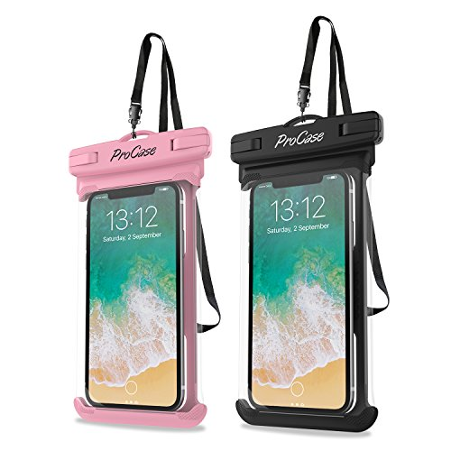 "ProCase Universal Waterproof Case Cellphone Dry Bag Pouch for iPhone 12 Pro Max 11 Pro Max Xs Max XR XS X 8 7 6S Plus SE 2020, Galaxy S20 Ultra S10 S9 S8/Note 10 9 up to 6.9"" -2 Pack, Pink/Black"