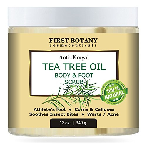 Exfoliante Pies,Natural Tea Tree Oil Body & Foot Scrub with Dead Sea Salt - Best for Acne, Dandruff and Warts