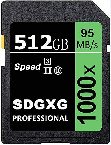 Grande capacità - Scheda di memoria SD Memory Card 512 GB SDXC Card UHS-I U3 Class 10 Memory SDXC Card Data Storage Up to 95 MB/S per Cameras and Laptops (512 GB)