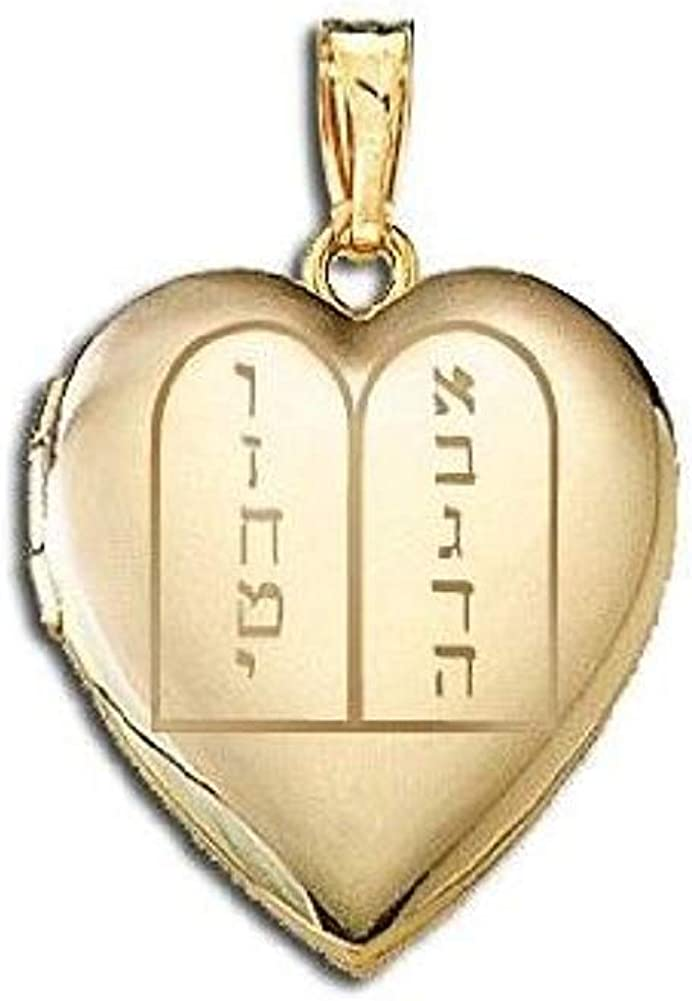 PicturesOnGold.com 14K Yellow Gold Ten Commandments Sweetheart Locket 3/4 Inch X 3/4 Inch in Solid 14K Yellow Gold